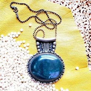 Silver and Stone Oversized Round Pendant Necklace